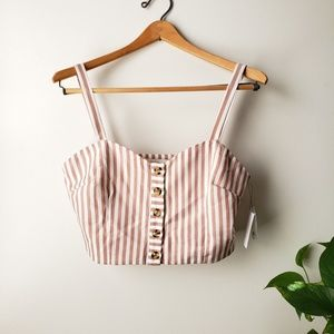 NWT bishop + young  crop buttoned bustier sz M